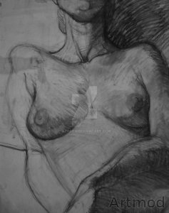 Charcoal study of female nude