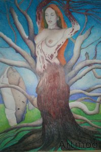 Colored pencil study of a dryad